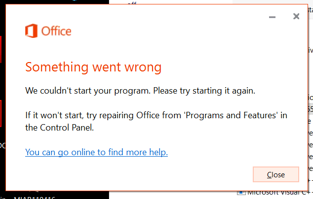 Office 365 – Something went wrong, We couldn't start your